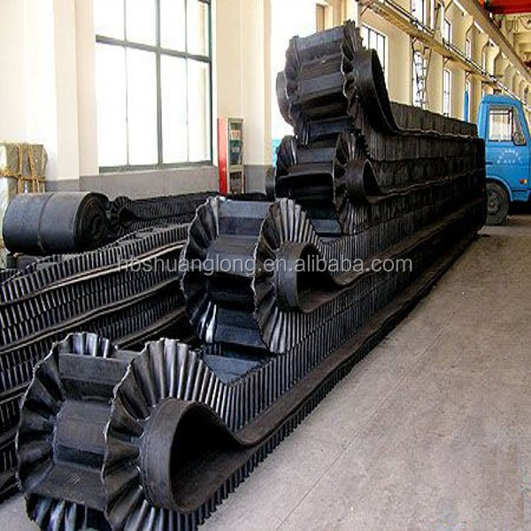 large dip angle waving undular corrugated sidewall cleated rubber conveyor belt