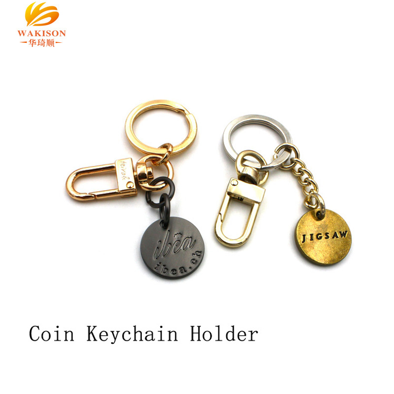 Custom metal vintage coin holder keychain with snap hook