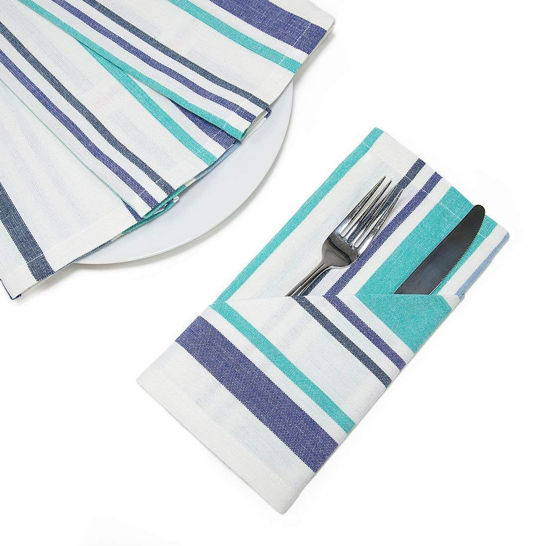 20 in. Blue Barcode-Striped Cotton Napkins 4/pack