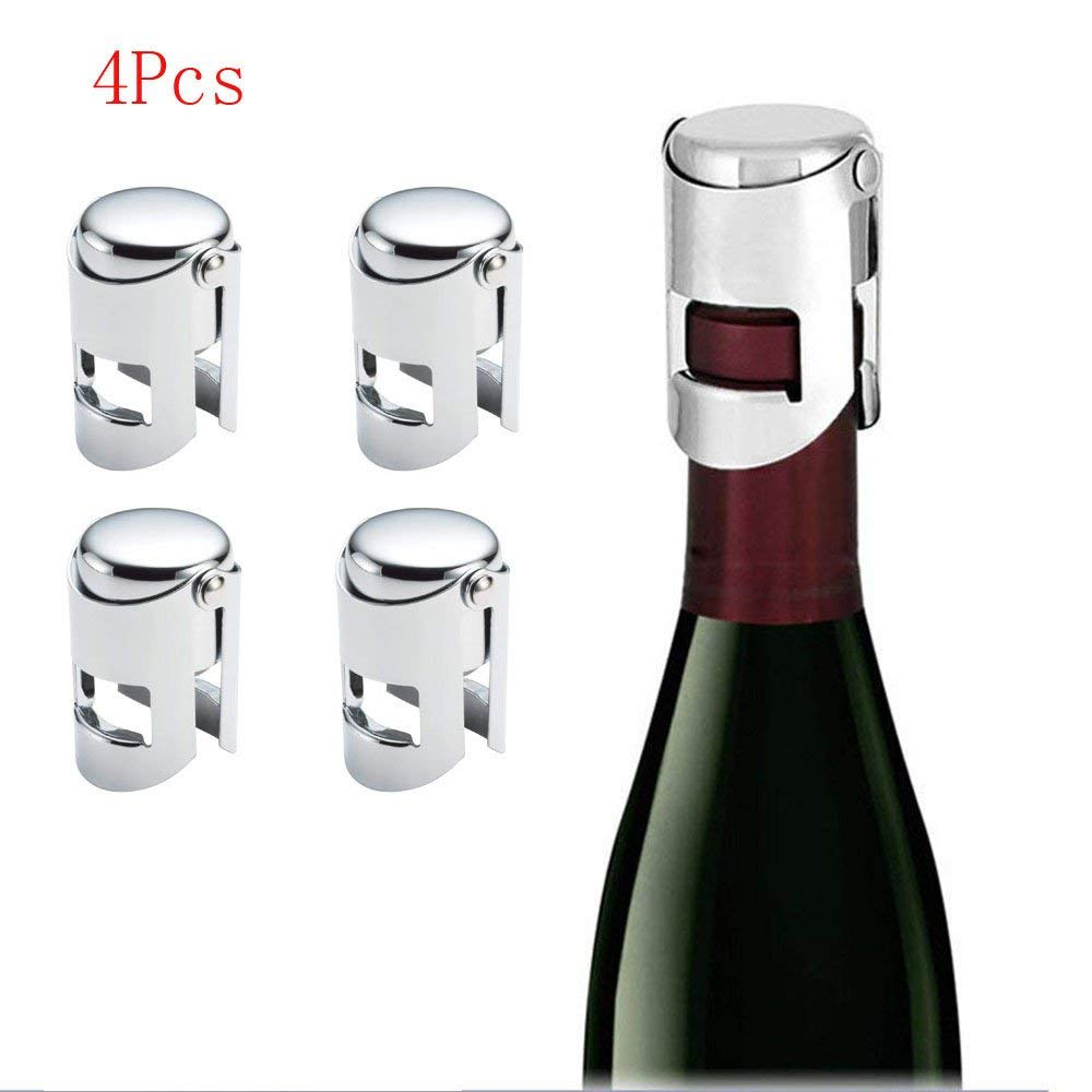 by DeVine 2 Stoppers and 1 Bouchon Cork Twist Opener Stainless Steel Champagne Bottle Stopper and Opener Gift Set Preserves Freshness and Fizz of Sparkling Wines