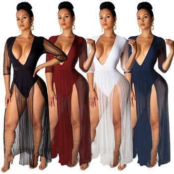 Lifu High Quality Dresses V Neck Casual Maxi Dresses Women Plus Size Sexy Dress 2019 Fashion Clothing For Women