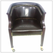 hangzhou tongda chair Office wooden and leather chair on glides