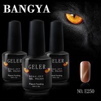 2016 Bangya company Long Lasting Three Steps 15ml black Bottle cat eyes uv gel nail polish for UV led lamp