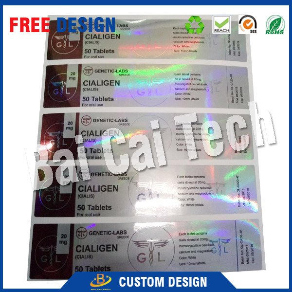 2016 china best seller provide top quality new shiny security hologram 10ml steriod vial labels