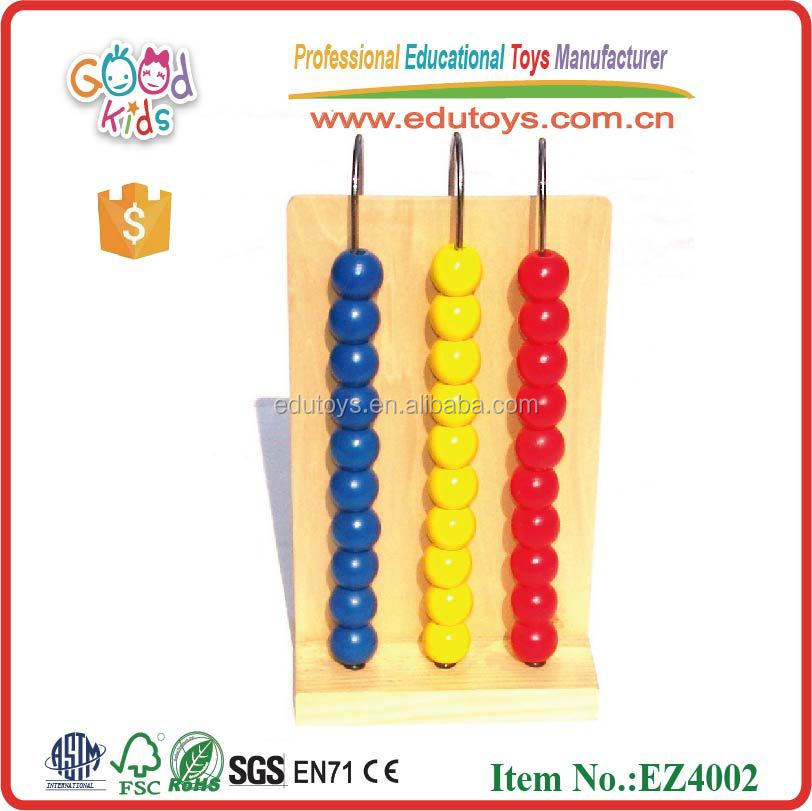 Factory Direct Sale Educational Tool 3-rows Wooden Abacus Toys