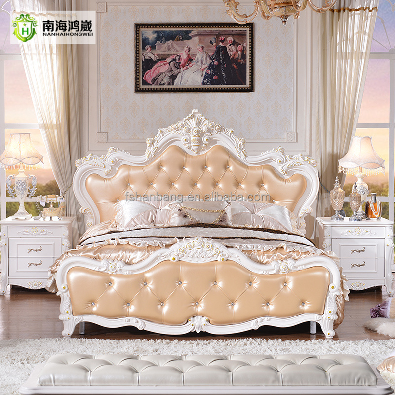 China Antiken Luxus Klassische Polsterleder Französisches Bett ...