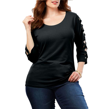Black Lattice Hollow Out Three Quarter Sleeved Top Women Plus Size Blouse Lady T-Shirt Ropa Mujer