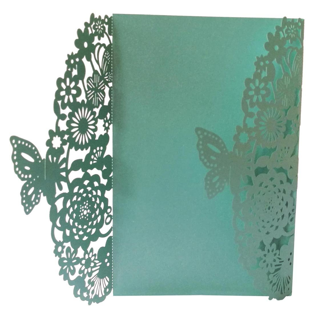 SODIAL(R) 10Pcs/Set Delicate Carved Butterflies Romantic Wedding Party Invitation Card Envelope Invitations for Wedding£ºBlue Green