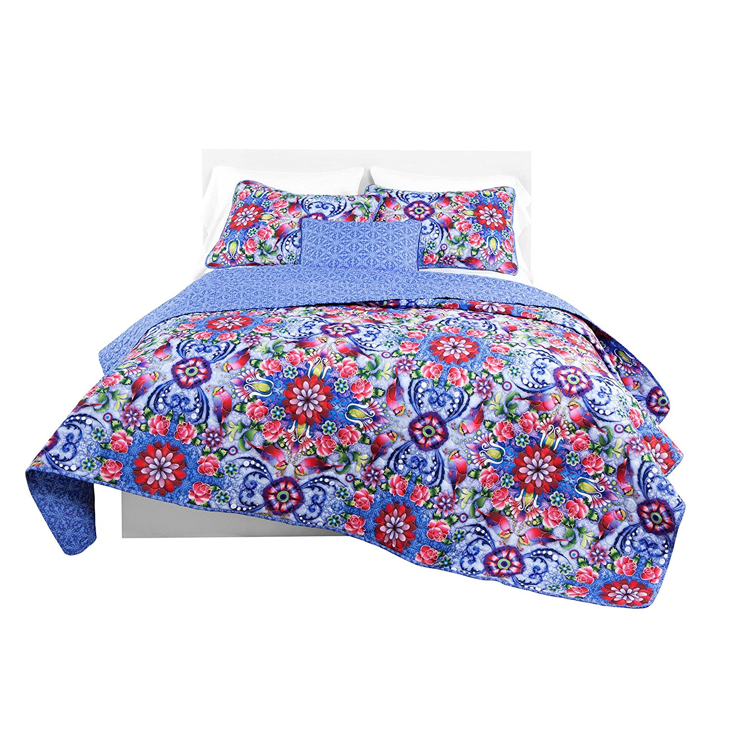 un 3 Piece Girls Pink Purple Blue Pink Red Intricate Floral Quilt King Set, Beautiful All Over Geometric Flowers Bohemian Bedding, Vibrant Bright Scroll Rose Daisy Paisley Flower Themed Pattern