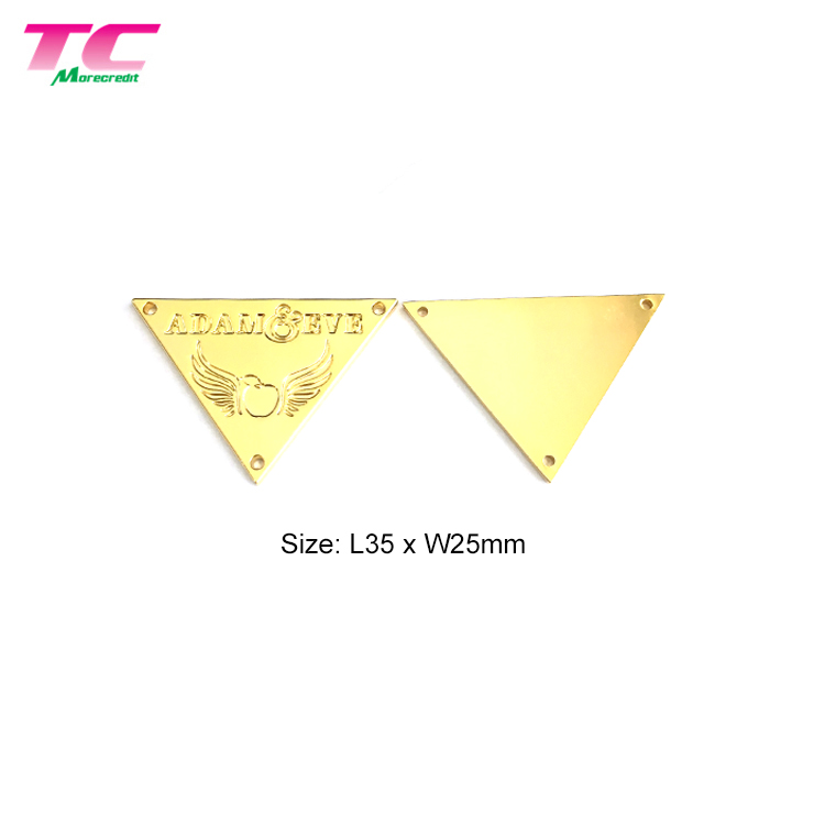 Custom Metal Clothing Label Tag Gold Triangle Garment Metal Logo Label With Engraved Logo