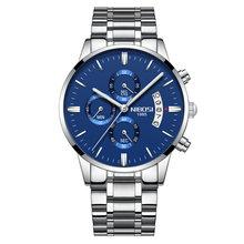 NIBOSI роскошные часы Для мужчин наручные спортивные водонепроницаемые часы моды часы Серебряный Синий Кварцевые наручные часы(Китай)