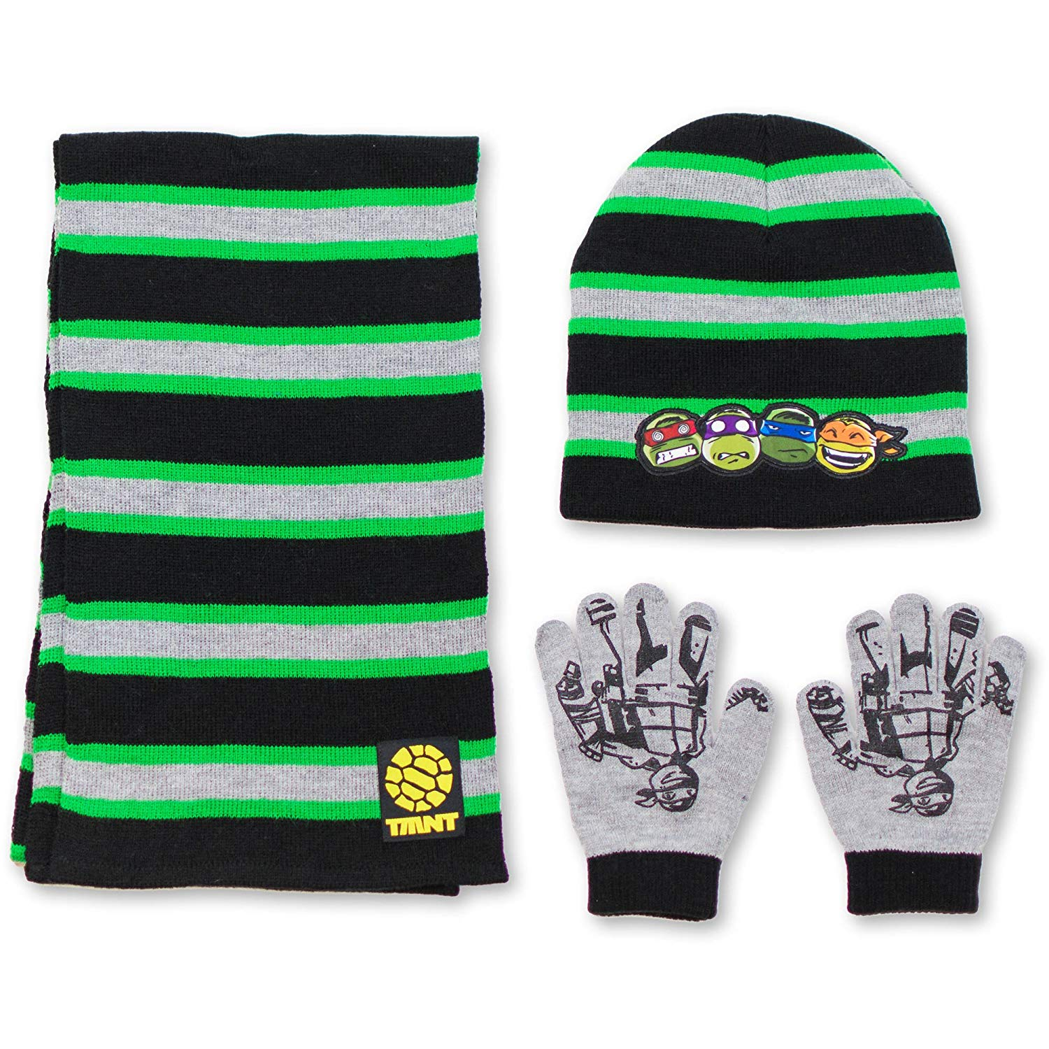 a8e01dad6d7 Get Quotations · Teenage Mutant Ninja Turtles TMNT Boys Winter 3pc Set Hat  Gloves and Scarf