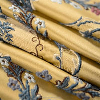 Embossed jacquard brocade satin fabric floral,woven satin curtain chenille upholstery fabric jacquard