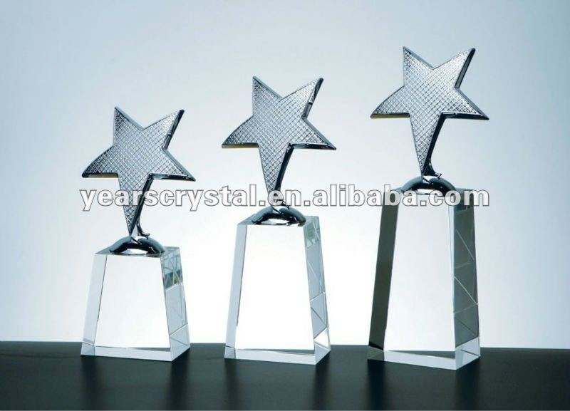 Yiwu years crystal star trophy for souvenir different size(R-0545