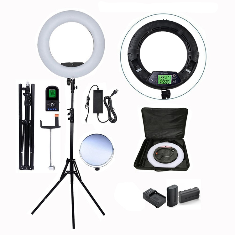 makeup 3200-5600K photography 480 led lamp 18 inch selfie portable flash camera ring light