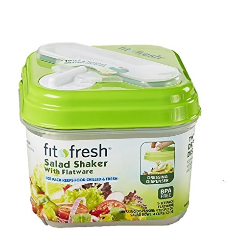 Fit & Fresh Salad Shaker Lunch Container with Built-in Dressing Dispenser, Utensils and Reusable Ice Pack