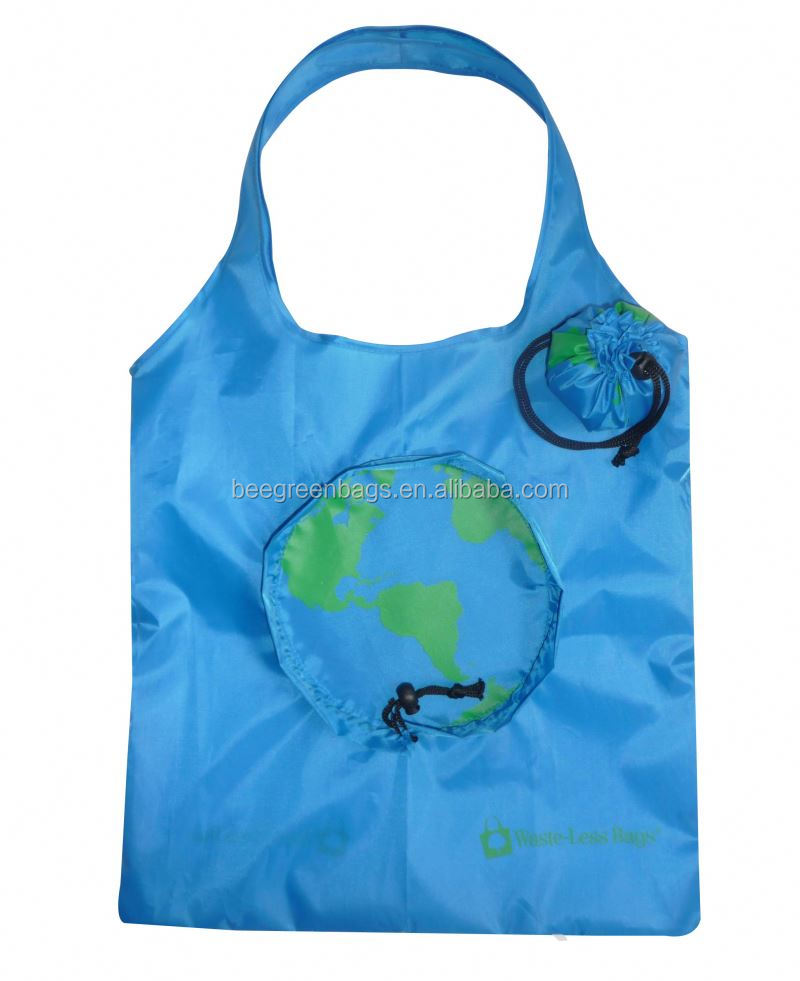 wholesale 210D Nylon nylon folding bag with pouch with earth shape pouch