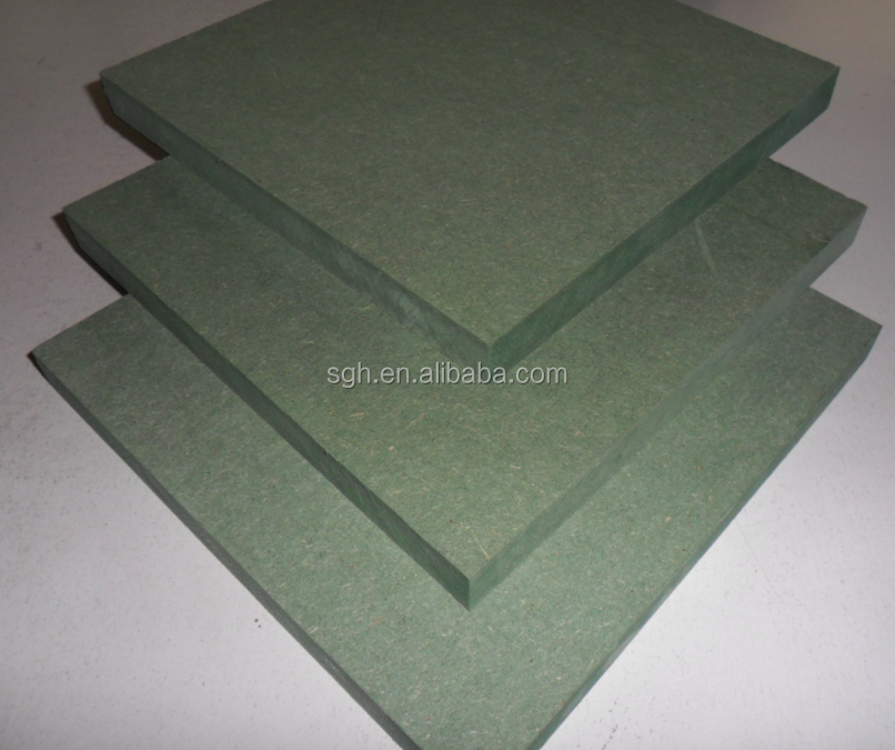 Moisture Resistant MDF Medium Density Fibreboard with a density range of about 650 to 850 kg/m^3