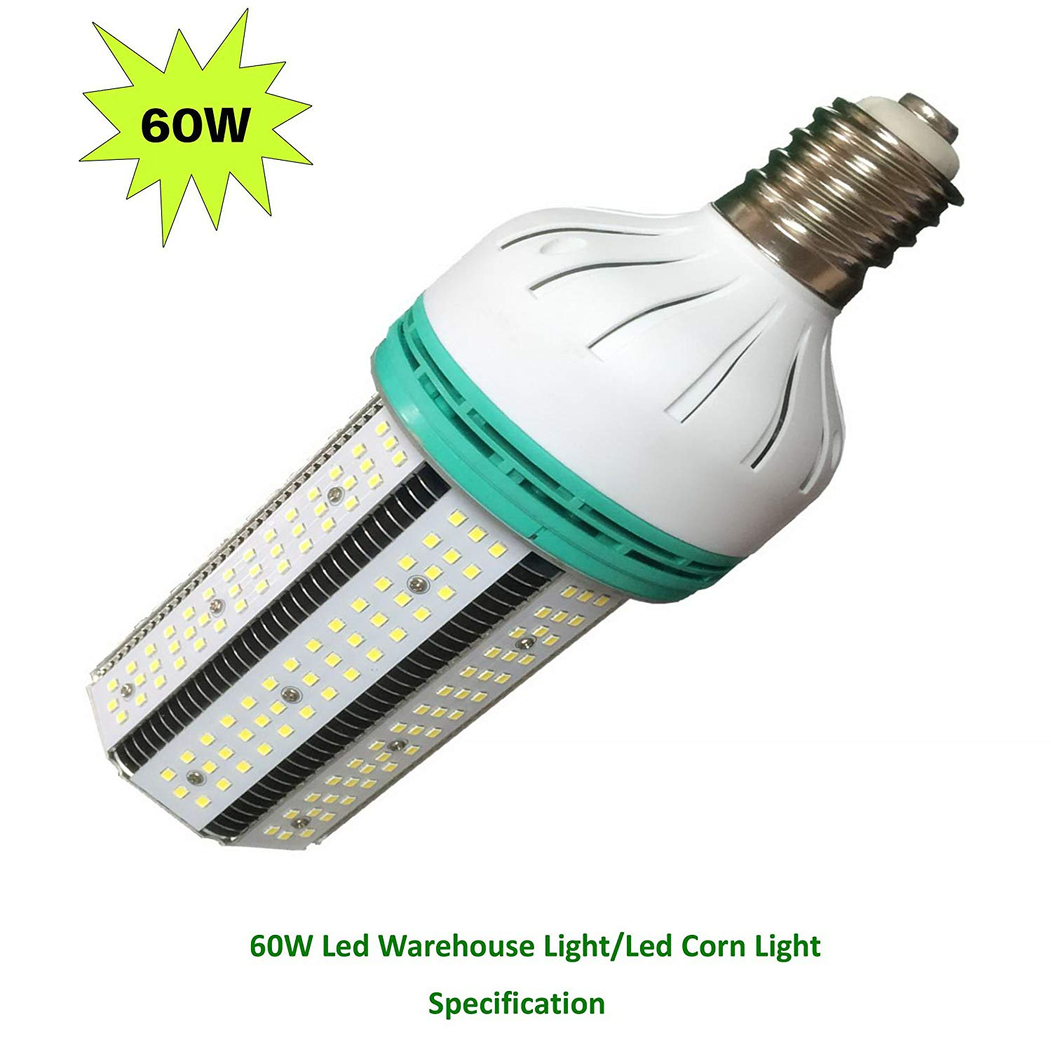 Leson 300W Equivalent E39/E40 Mogul Base 60W Daylight 6000K LED Corn Light Bulb, Super Bright AC 100-277V for Parking Lot Street Lamp Post Lighting Garage Warehouse High Bay Barn Porch Backyard Garden