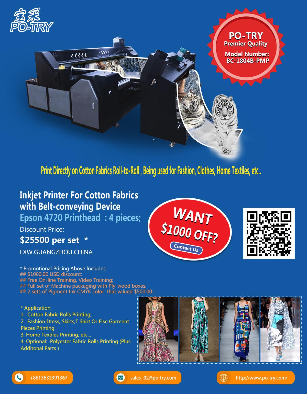 Bc-1804a-pmp 1800mm Print Width Digital Cotton Fabric Printer Machine - Buy  Cotton Printer,Cotton Fabric Printer,Cotton Printer Machine Product on