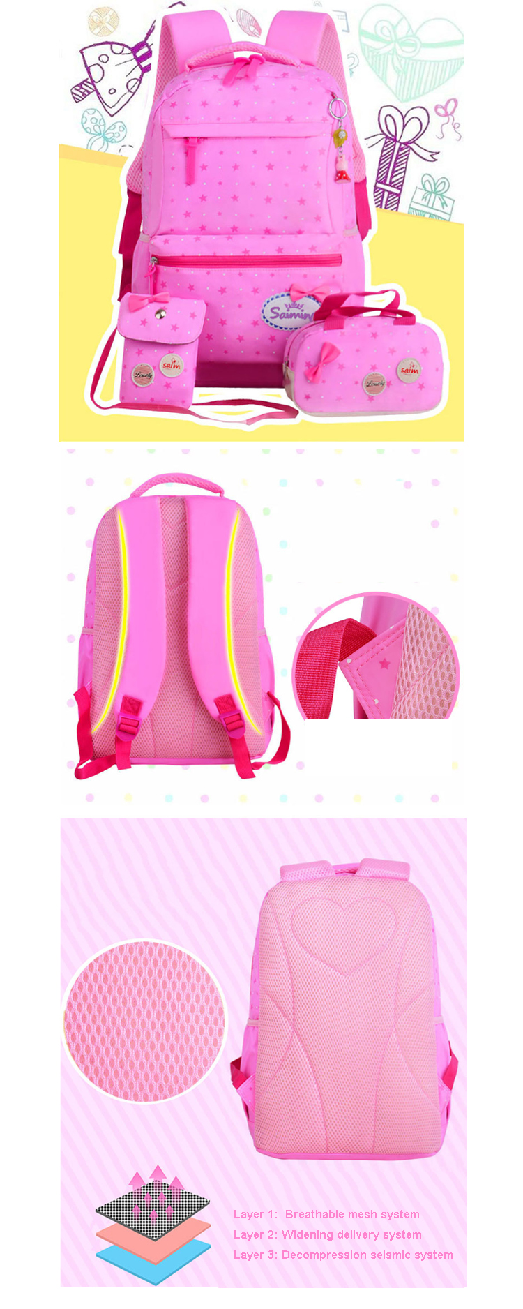 Osgoodway2 Pink 3 in 1 School Bags 2019 New Arrivals Teens Backpack School Bags Set