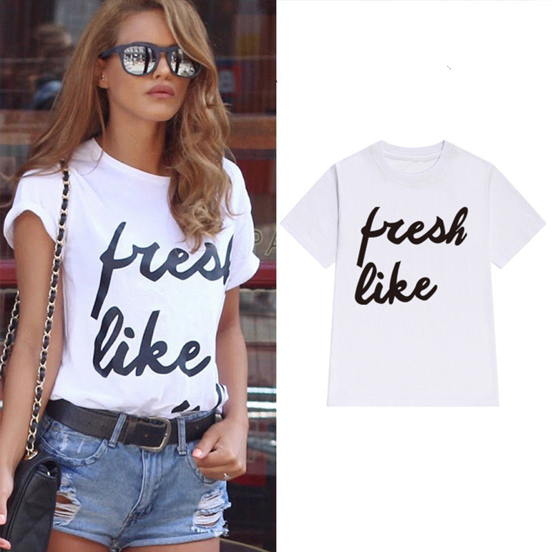 QX492 Fresh Like street loose letters printed T-shirt summer of 2017 the new women's short sleeve T-shirt