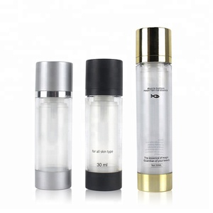 30ml 50ml 100ml ECO Friendly Black Aluminum Twist Silver Dual Acrylic Plastic Cosmetic Lotion Air Airless Pump Bottle