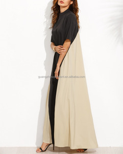 clothing/women Casual dresses/Color Block Mock Neck Maxi Tent Dress