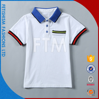 New Arrival OEM service pure cotton white blue collar kids polo t shirts for kids