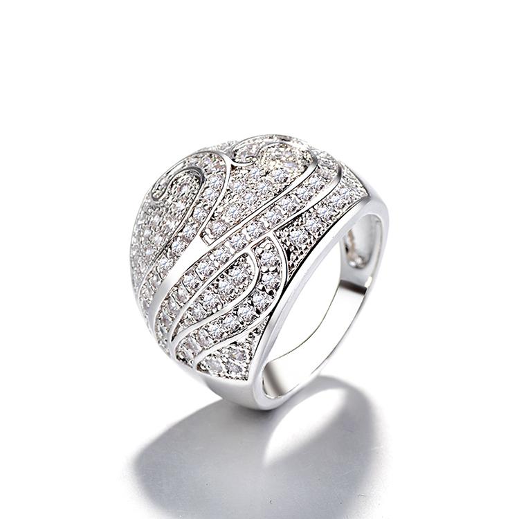 DTINA Fashion New Platinum Ring Crystal Couple Ring