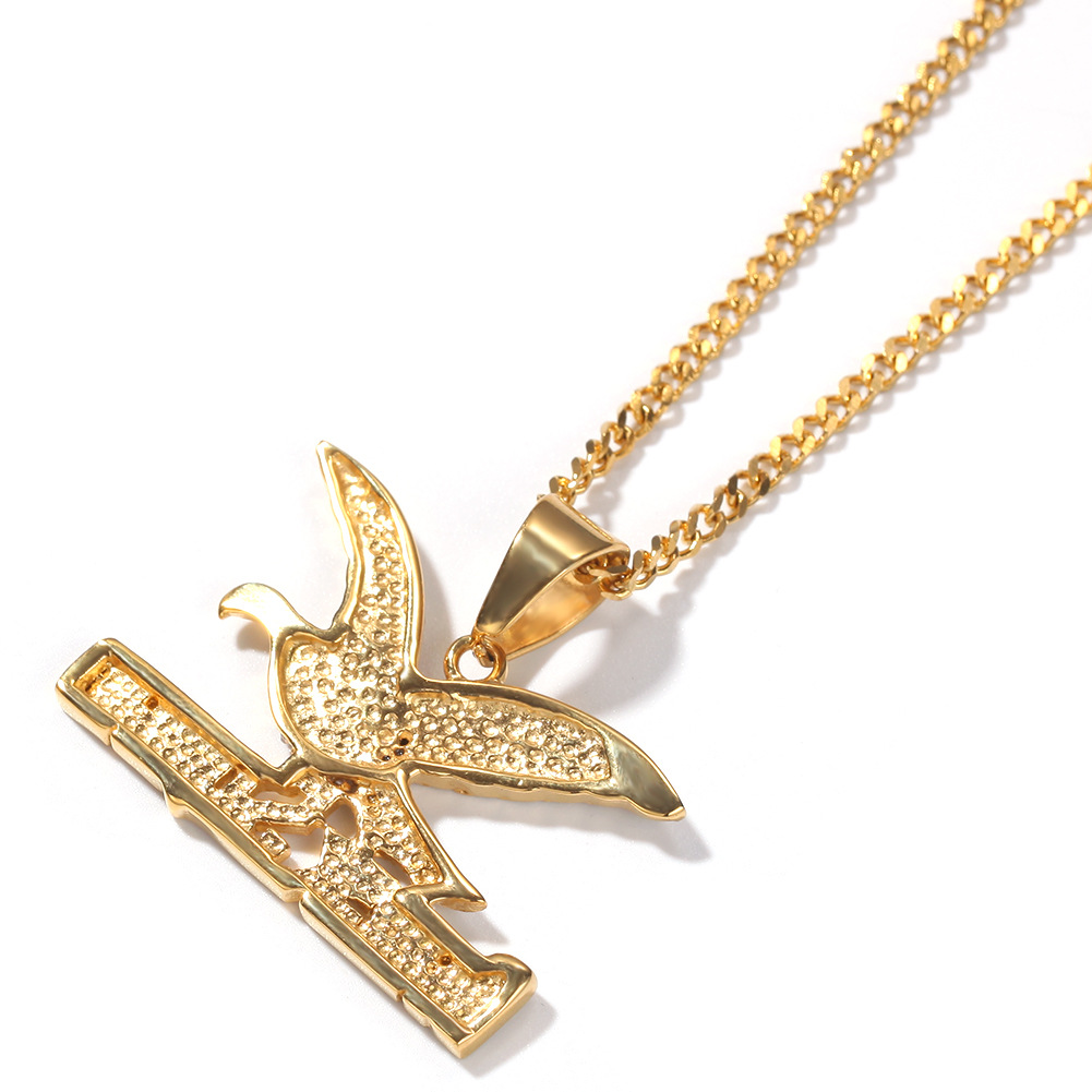 Wholesale Mens HipHop Jewelry Animal Eagle Pendant Necklace Gold Plated BrickSqurd Charm Chain