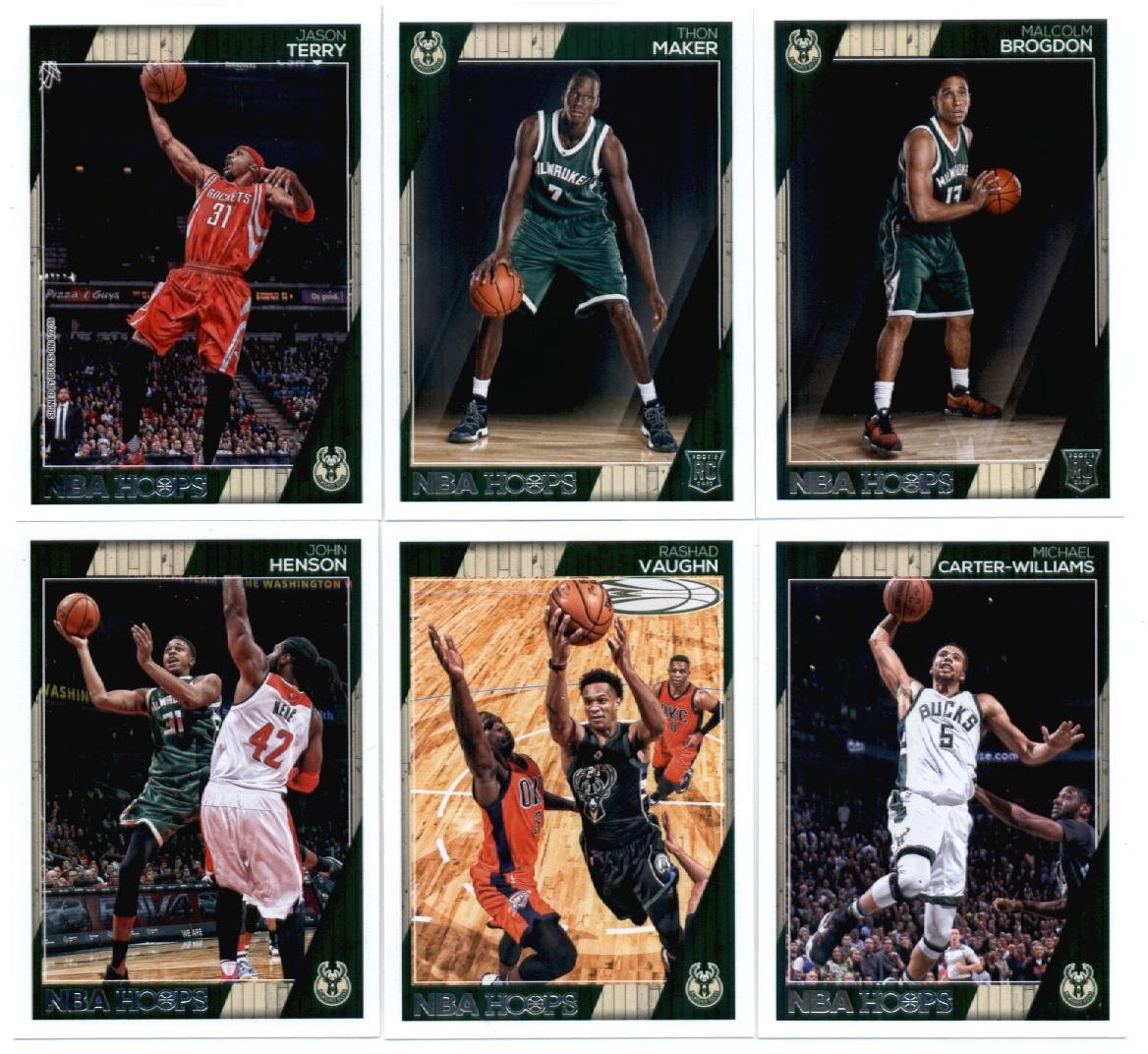 2016-17 Panini NBA Hoops Milwaukee Bucks Team Set of 12 Cards: Giannis Antetokounmpo(#6), Jabari Parker(#7), Khris Middleton(#8), Greg Monroe(#9), Tyler Ennis(#10), Matthew Dellavedova(#21), John Henson(#164), Rashad Vaughn(#165), Michael Carter-Williams(#166), Jason Terry(#231), Thon Maker(#270),
