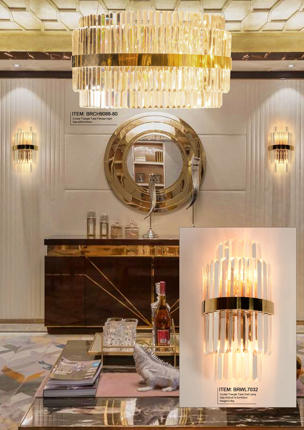 Rectangular Glass Wall Lamps for Living Room Lighting Contemporary Wall Lights