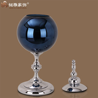 Luxury home ornaments glass flower vase decoration with removable metal lid