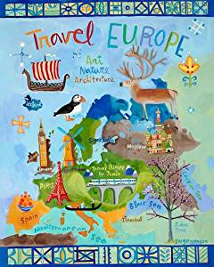 Oopsy Daisy Travel Europe Stretched Canvas Wall Art by Donna Ingemanson, 24 by 30-Inch