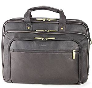 Single Piece Brown Professor Briefcase, 15.6-inch Laptop Briefcase, Checkpoint-Friendly, Multi-Compartment, Solid Pattern, Business, Leather Material, Checkpoint-Friendly, Multi-Compartment