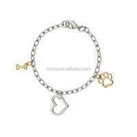 Doggie Paw Bracelet, Heart with Gold Plated Bone and Paw