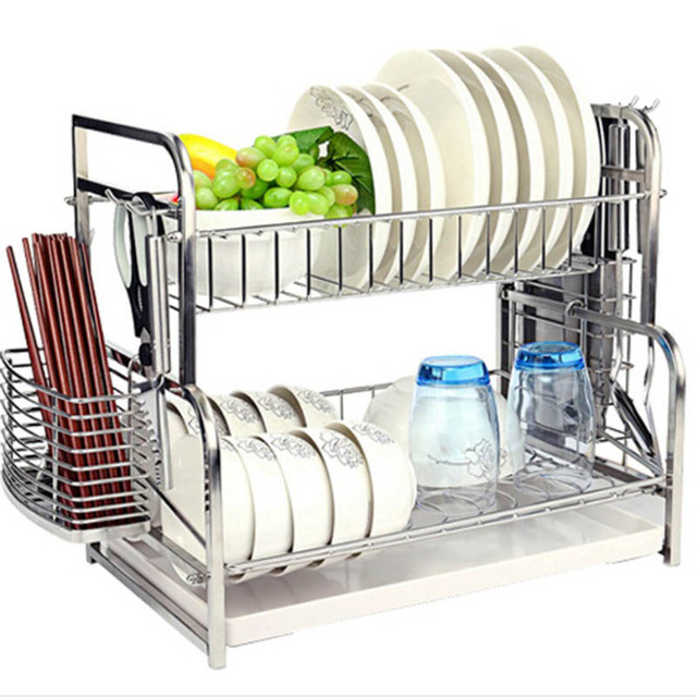 Kitchen 2 Tier Stainless steel Water Sink Dish Plate Drying Drainer Rack Holder With Tray  sc 1 st  Alibaba & China 2 Tiers Plate Holder With Tray Wholesale ?? - Alibaba