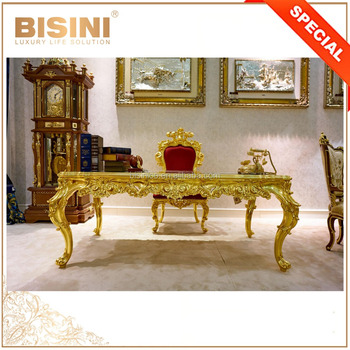 French Rococo Style 24K Gold Study Room Writing Desk/ Reproduction Study Room Furniture / Luxury Design Home Office Desk