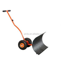 ABS Plastic handle snow shovel with wheels