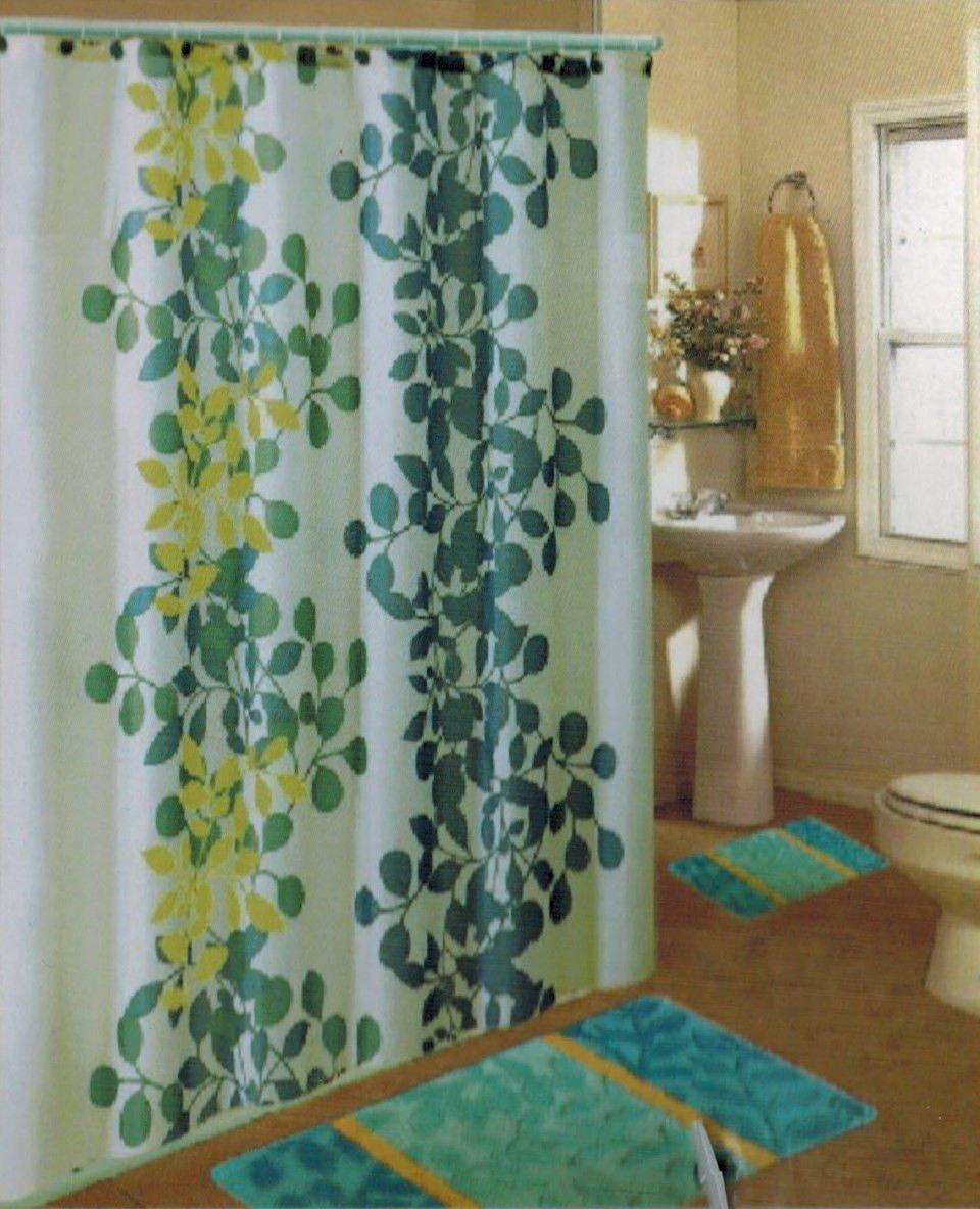Get Quotations BATHROOM BATH MAT SET RUG CARPET Fabric SHOWER CURTAIN HOOKS ZEBRA LEOPARD New Aqua Blue