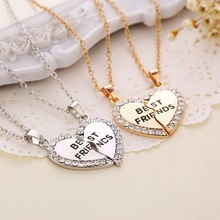 Free shipping 2015 New Fashion Style Broken Heart 2 Parts Best Friend Pendant Necklace Sharing With Your Friend