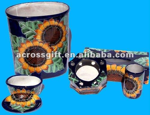 Sunflower Talavera Ceramic Bathroom Set   Buy Ceramic Bathroom Set,Blue  White Ceramic Ducks,Ceramic Decorative Ducks Product On Alibaba.com