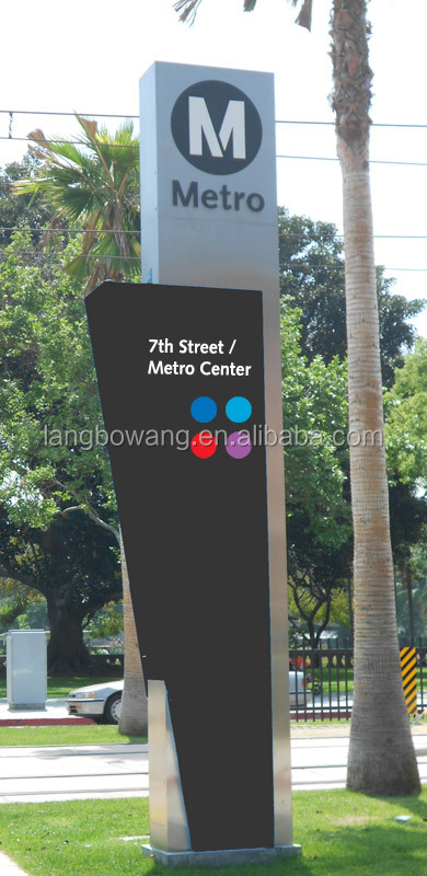Outdoor custom design stainless steel direction pylon sign