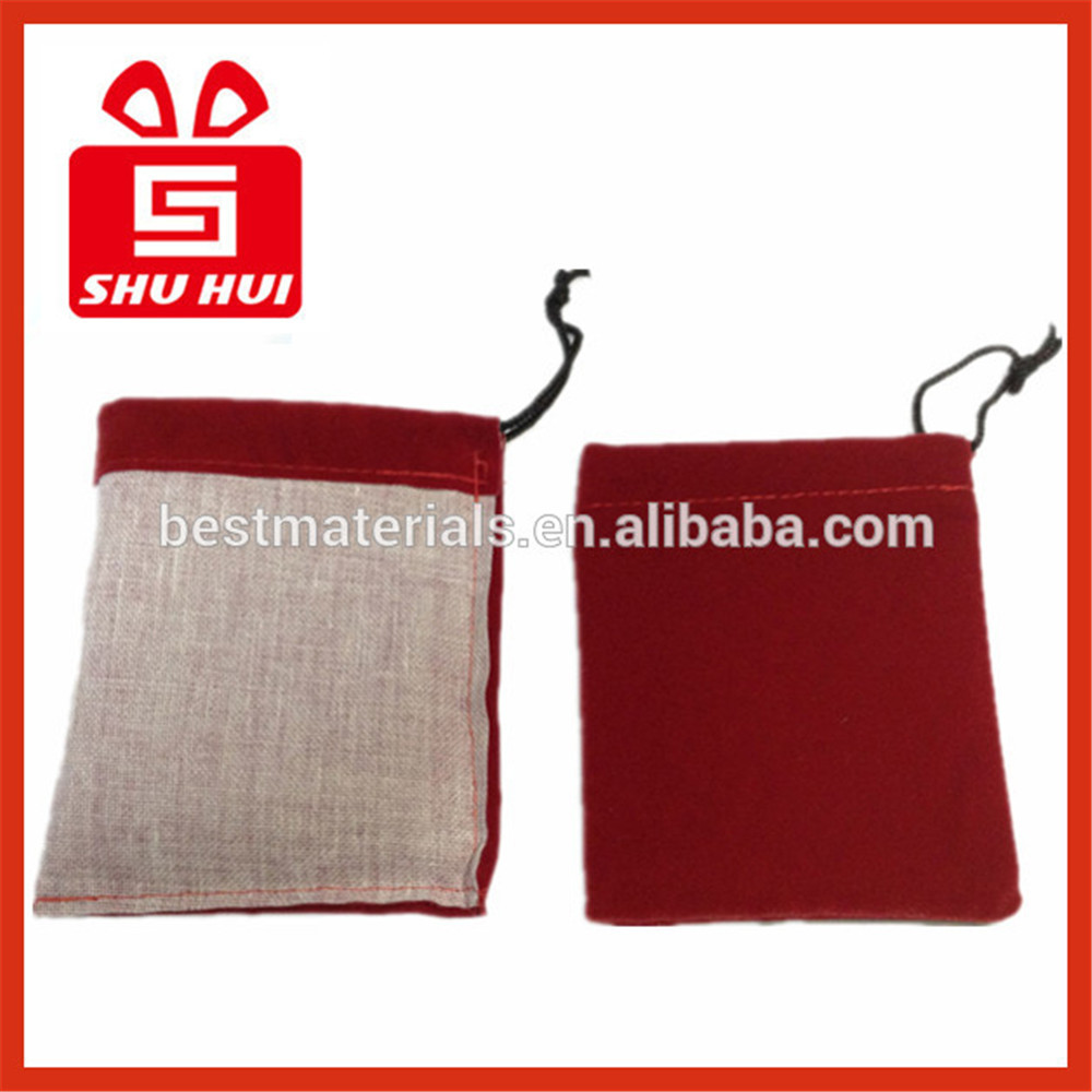 Fabric drawstring cosmetic pouch dust bag for shoe line small velvet drawstring bag custom printed jewerly velvet pouch red bags