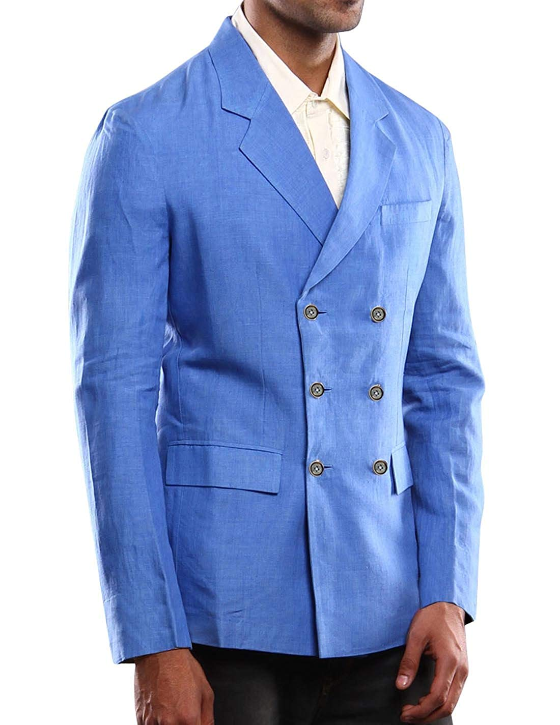3cea784613e Get Quotations · Bagtesh Fashion Mens Notched Lapel Double Breasted Linen  Blazer Coat Jacket MB120