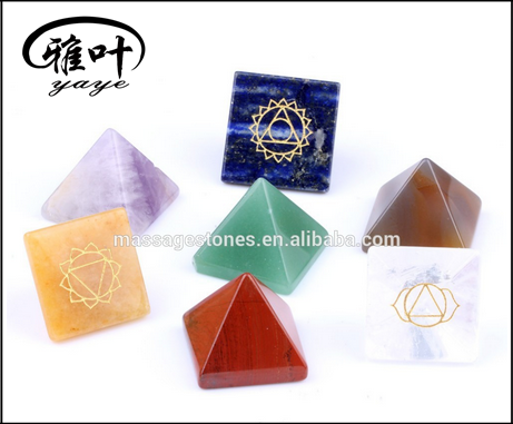 Natural semi precious stones 7 chakra pyramid engraved