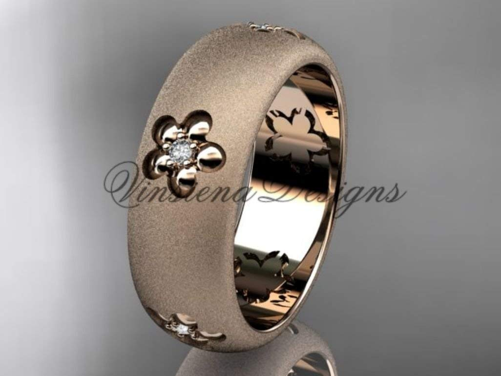 NYBUCHI Tungsten Gold Ring Dome Matte Surface Rose Gold Polished Inner Surface Engagement