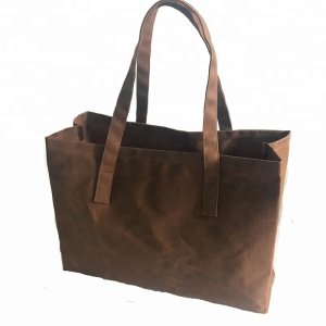 Heavy duty foldable waterproof brown waxed canvas reusable grocery bags