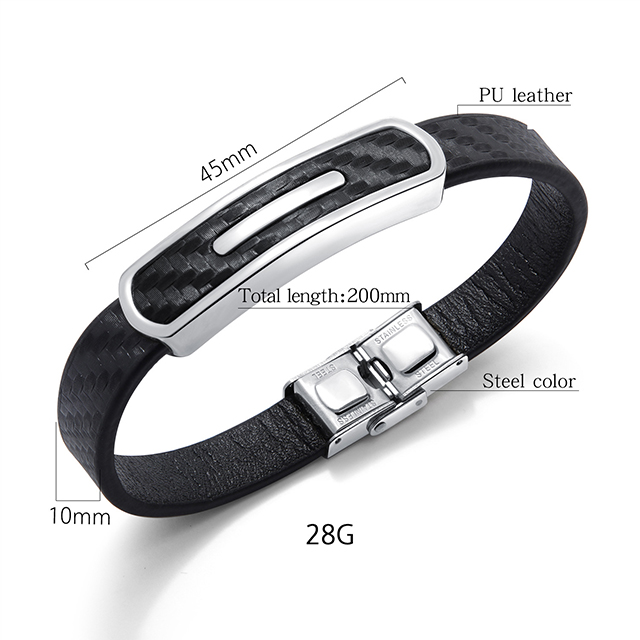 Online shop Hot sale cheap stainless steel charm plain black leather bracelet for men and women 2019